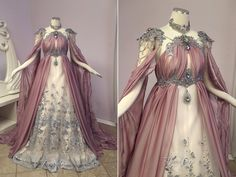 We used a dusty rose chiffon that parts in the front to reveal silver 3D lace. The underlaying fabric is a pale peach wedding satin. Metal filigree decorates the top of the dress and under-bust. We...