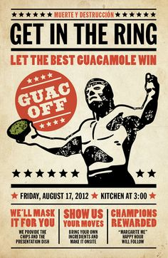 Guac Off - Susan Asbill Wrestling Posters, Boxing Posters, Motto, Mexican Mask, Mexican Party, Wrestling Party, Mexican Wrestler, Catch, Restaurant Menu Design