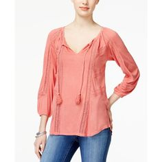 Lucky Brand Crochet-Detail Peasant Top ($40) ❤ liked on Polyvore featuring tops, blouses, faded rose, crochet detail top, bohemian style tops, red peasant blouse, red blouse and lucky brand blouse