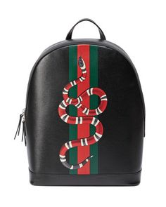 Web+&+Snake+Leather+Backpack,+Black+by+Gucci+at+Neiman+Marcus.