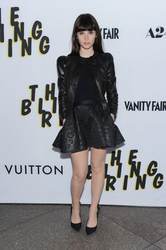 Felicity Jones Mini Skirt - Felicity Jones rocked an all-black look with a floral-embossed leather skirt.