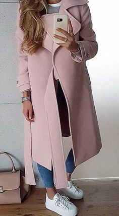 #winter #outfits pink long coat