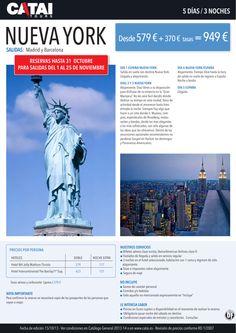 OFERTA: NUEVA YORK, reservas hasta 31 oct, sal mad y bcn, 5d/3n desde 949€ - http://zocotours.com/oferta-nueva-york-reservas-hasta-31-oct-sal-mad-y-bcn-5d3n-desde-949e/