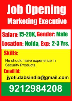 Urgently Requirement for Marketing Executive.