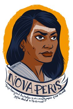 Nova Peris, first Aboriginal Austrailian to win Olympic gold and hold elected office.  Image part of a series of remarkable women