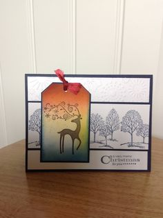 Stampin Up Christmas card - winter with dasher. $3.50, via Etsy.