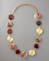 """Devon Leigh Chalcedony & Gold Disk Necklace, 42""""L, i have this and not sure if I will return it...very heavy"""
