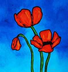 Abstract Flower Painting - Bold Red Poppies - Colorful Flowers Art by Sharon Cummings