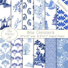 Chinoiserie Wallpaper China Blue Digital Paper Pack | Etsy