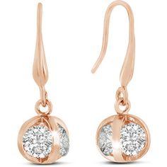 Adoriana Rose Gold Austrian Crystal Elements Basket Dangle Earrings