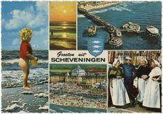 Groeten uit Scheveningen met 5 kleine beelden, o.a. Kurhaus, Pier, strand en haven. ca 1970 Kruger / Sleding, Amsterdam, nr. 967048 #ZuidHolland #Scheveningen