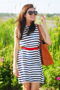 4. BBQ USA- Blue and White Striped Cotton Dress paired with a red ribbon waist cinching belt