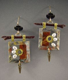 Doezignz, by Doe Cross. Jewelry image of Handmade paper earrings   with pearls,wood,and beads