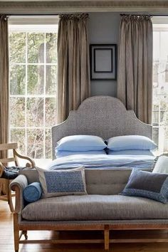 See all our stylish bedroom design ideas, including this room in pretty small pattered fabric from Fermoi by nona Dream Bedroom, Home Bedroom, Bedroom Furniture, Master Bedroom, Bedroom Decor, Bedroom Ideas, Tan Bedroom, Garden Bedroom, Bedroom Interiors