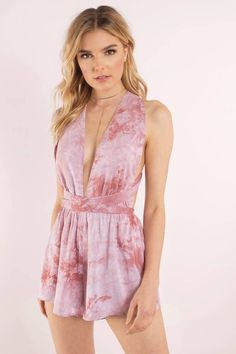 Trendy Ideas For Summer Outfits : Search Tie Dying Over You Mauve Romper on Tobi.com! plunge plunging neckline s