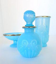 Vintage Avon 1970's Bristol Blue Bathroom Accessory Vanity Set Soap Dish, Tumbler, Perfume Bottle