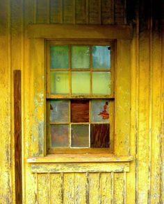 Fine Art photography Yellow wall art colorful decor window reflections print abandoned building lime green mustard yellow 8x10. $30.00, via Etsy.
