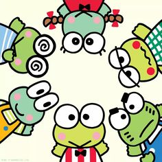 Keroppi, Kyorosuke, Noberun, Keroleen, Keroppe, and Ganta are all the best of friends!  Best Friend Day!