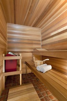 Sauna interior~ love the brick floor!