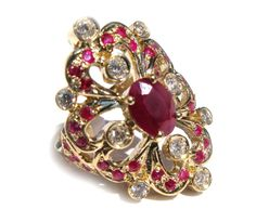 MAGNIFICIENT 3.05CT NATURAL RUBY & DIAMOND COCKTAIL LADIES RING 14K YG 8.5g