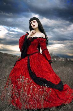 Red Velvet Fee mittelalterlichen Renaissance-Brautkleid mit Overskirts - Custom