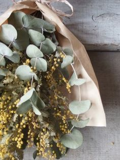 yellow sage and eucalyptus natural bundle Flowers Nature, Green Flowers, Beautiful Flowers, Dried Flower Wreaths, Dried Flower Bouquet, Wedding Bouquets, Wedding Flowers, Pepper Tree, Yellow Bouquets