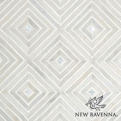 Bryce, a handmade mosaic shown in honed Afyon White, tumbled Thassos and Shell | Designed by Sara Baldwin Designs for New Ravenna