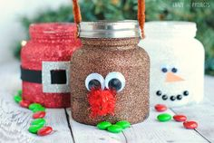 Make these cute and adorable Christmas Glitter Treat Jars this season - perfect for decorating and gift-giving.