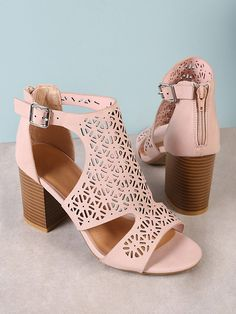 Color: Pink Upper Material: Suede Outsole Material: Rubber Toe: Peep Toe Heel Height: High Heel Accessories: Cut Out Heel Height (cm): cm Heels: Chunky Style: Elegant Brand: bamboo Cute Shoes, On Shoes, Me Too Shoes, Shoe Boots, Peep Toe Heels, Stiletto Heels, High Heels, Heeled Sandals, Blush Shoes