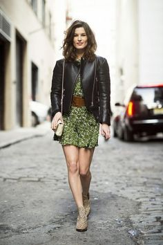 leather jacket with printed dress