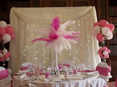 Pink Black And White Wedding Centerpieces   Black and White Ostrich Feather Table Decoration