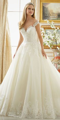 Frosted Beading on Alencon Lace with Wide Scalloped Hemline on Wedding Dress