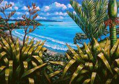 A New Zealand coastal painting and three European landscapes by Caz Novak are available as limited edition prints. Nz Art, Art For Art Sake, Maori Designs, New Zealand Art, Les Cascades, Kiwiana, Landscape Paintings, Landscapes, Abstract Paintings