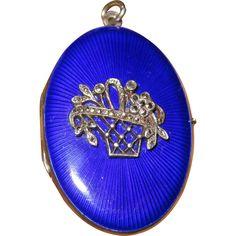 Fine Cobalt Blue Enamel Locket Sterling