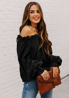Date nigh or fun days in the sun, our Amelia Ruffle Off Shoulder Blouse a Ruffle Off Shoulder Blouse is up for the task of making you stand out. The elastic ruffled neckline leaves your shoulders bare with long sleeves. Get the look with your distressed denim and heels for feeling the best you ever felt. Off The Shoulder Top Outfit, Off Shoulder Tops, Off Shoulder Blouse, Spring Tops, Ruffle Top, Ruffle Sleeve, Online Shopping Clothes, Everyday Outfits, Black Blouse