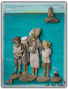 Diy little people frame i must make Stone Crafts, Rock Crafts, Beach Rock Art, Pebble Art Family, Pebble Pictures, Decoration Originale, Sea Glass Art, Shell Art, Driftwood Art
