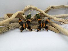 Butterfly Hoop Earrings Macrame Butterfly Earrings | Etsy Macrame Earrings, Macrame Jewelry, Macrame Bracelets, Etsy Earrings, Earrings Handmade, Hoop Earrings, Butterfly Earrings, Gold Hoops, Gold Beads