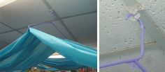 plastic tablecloth ceiling decoration | With this method you won't damage the tiles, or have to struggle to ...