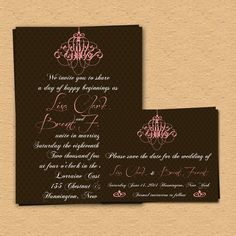 Customize And Print - Wedding Invitation & Save The Date - Chandelier Wedding. $15,00, via Etsy.