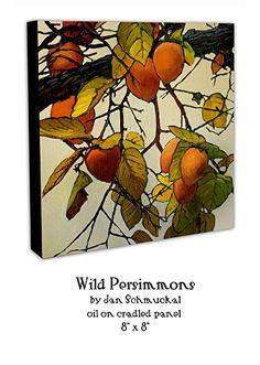 Wild Persimmons by Jan Schmuckal Oil ~ x Persimmon Fruit, Impressionist Artists, Fall Pumpkins, Medium Art, Three Dimensional, Impressionism, Art Photography, Illustration Art, Arts And Crafts