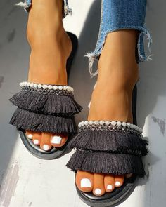 Shop Beaded Tassel Detail Slipper Sandals right now, get great deals at joyshoetique Estilo Fashion, Look Fashion, Fashion Shoes, Fashion Women, Latest Fashion, Fashion Outfits, Sandals Outfit, Women's Shoes Sandals, Casual Rings