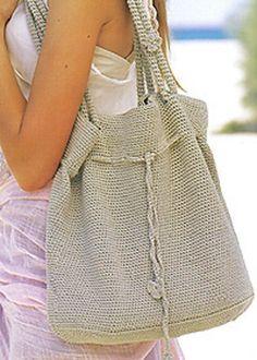Ravelry: Rose Bag pattern by Patons UK Crochet Drawstring Bag, Crochet Tote, Crochet Handbags, Crochet Purses, Cute Crochet, Crochet Crafts, Crochet Baskets, Free Crochet Bag, Crochet Shell Stitch