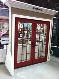 """Marvin Wineberry Aluminum Clad Exterior, Outswing French Door with 3W5H Simulated Divided Lite (7/8"""") and Bouvet Hardware.  Photo from the Old Town Glass & Marvin Window and Door Booth at the Sonoma County Home and Garden Show."""