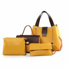 Delight 4-in-1 Satchel Bag - Yellow 4 In 1, The 4, Pu Leather, Shoulder Bag, Handbags, Satchel Bag, Yellow, Red, Royalty