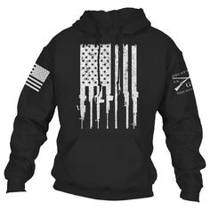 """Celebrate the Amendment of the United States Constitution, """"the right of the people to keep and bear Arms, shall not be infringed""""! Grunt Style's Rifle Flag Hoodie is an ultra-comfortable cotton / polyester blend, perfect to fight the winds of winter! Survival Clothing, Survival Gear, Swagg, Hoodies, Sweatshirts, Types Of Shirts, Just In Case, Cool Outfits, Men's Outfits"""