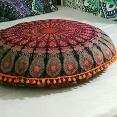 Peacock Mandala Floor Pillow Cover is amzing to decor your home. Floor Cushion provide extra seating space Chit chats. Big Floor Pillows is Hippie Decor trending and affordable Occassional Gifts at Reasonable prices. This Oversized Throw Pillow can be carried to Picnic and Beach for fun. Ethnic Indoor and Outdoor Pillows are Hand Dyed and is made of 100% Cotton in Beautiful antricate Spiral Design.