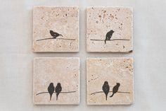 Set of 4 Natural Travertine Stone Tile Coasters, Birds on a Line design for Wedding Gifts, Favors, Bridal Parties, Present, Home Decorations by KabramKrafts on Etsy