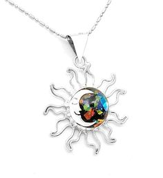 Goddess Sterling Silver Dichroic Glass Sun Moon Pendant Taxco Mexico #Handmade #SunMoon