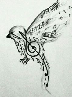 Music bird flying- music takes flight.