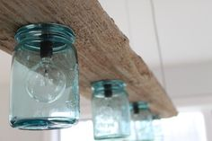 Ähnliche Artikel wie Driftwood and Antique Jar Hanging Light auf Etsy